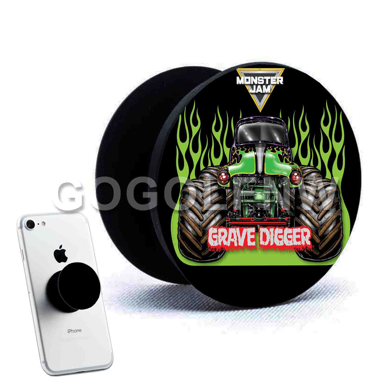 Grave Digger Monster Truck Phone Pop Out Stand Grip Up