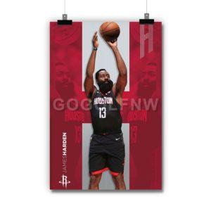 James Harden Houston Rockets NBA Poster Print Art Wall Decor