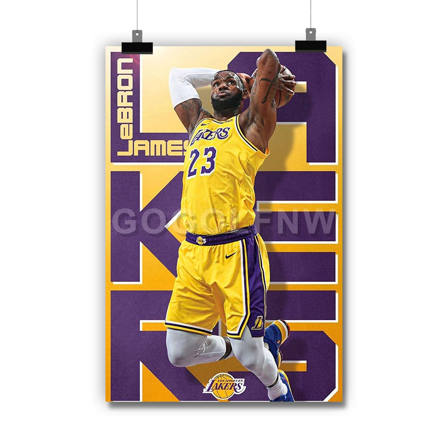 Los Angeles Lakers Lebron James Poster Standard Size Lebron James Posters Wall Poster Print 18-Inches by 24-Inches